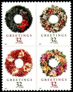 Special Projects: United States Postage Stamps Christmas Wreaths 1998