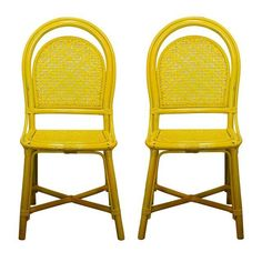 Image of Vintage Yellow Rattan Cafe Chairs - A Pair