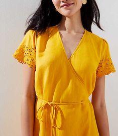 Eyelet Sleeve Wrap Dress