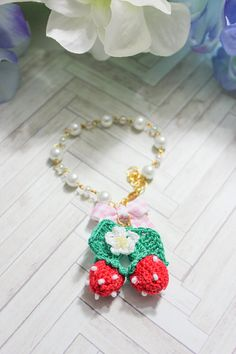 Strawberries & Bow Bracelet.