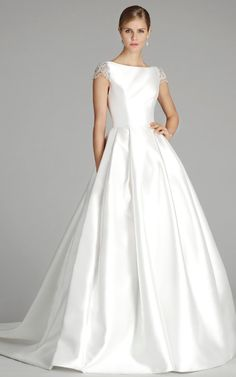 White silk mikado bridal ball gown wedding dress with short sleeves. Style 9658 by Alvina Valenta Fall Wedding Dress with jeweled cap sleeves. Wedding Dresses Plus Size, Fall Wedding Dresses, Elegant Wedding Dress, Wedding Dress Styles, Designer Wedding Dresses, Bridal Dresses, Ball Dresses, Ball Gowns, Dresses 2016