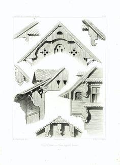 1861 Plans Chalet d'Alpage Suisse Canton de Schwyz Sculpture bois Architecture Gravure Lithographie Illustration de la boutique sofrenchvintage sur Etsy