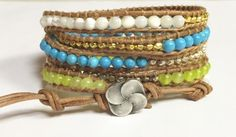 Handmade Leather Wrap White, Teal and Yellow Beads on Natural Genuine Leather 5 Wrap Bracelet Handmade Jewelry  by BohemianWrapsody, $51.00 USD