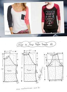 Untitled raglan t-shirt Sewing Blouses, Sewing Shirts, Sewing Pants, Circle Skirt Pattern, Pants Pattern, Blouse Patterns, Clothing Patterns, Easy Sewing Patterns, Clothing Hacks