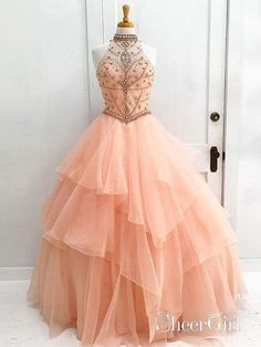 Ball Gown Prom Dress, Luxurious Ball Gown High Neck Orange Long Tulle Prom/Evening Dress with Beading Open Back Shop Short, long ball gowns, Prom ballroom dresses & ball skirts Pretty ball gowns, puffy formal ball dresses & gown Orange Prom Dresses, Cheap Prom Dresses, Quinceanera Dresses, Formal Dresses, Formal Prom, Elegant Dresses, Long Dresses, Wedding Dresses, Dresses Dresses