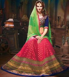 USD 142.74 Banarasi Silk Wedding Party Wear Lehenga Choli 42638