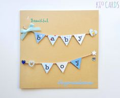 KIO CARDS - BABY BOY Blue Bunting Card *Option to personalise! #baby #babycards #newborn #newbaby #bunting #babybunting #handmadebunting #handmade #handmadecards #congratulations #crafts #papercrafts #cardmaking #greetingcards #babygifts #babyboy #personalised