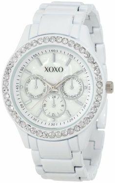 XOXO Women's XO5411  White Enamel Bracelet With Rhinestones Accent Watch XOXO. $19.99. Analogue Quartz Movement. Rhinestones accented bezel. Imitation mother-of-pearl analog face. Chronograph design are for decorative purposes only. White metal bracelet