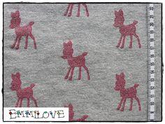 """Stoff Rehe - Sweat """" Dazzling Deers """" Glitzer Rehe grau meliert - ein Designerstück von EmmiLove bei DaWanda"""