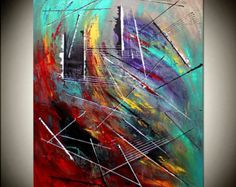 Large Painting Abstract Art Oil Painting Turquoise by largeartwork