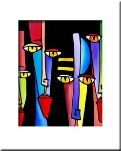 Peepers originali d'arte astratta Giclee pittura di fidostudio, $25,00