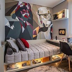 Star Wars Room Design Ideas - Check out the best Star Wars rooms for We collected the most inspiring and creative room decorations for Star Wars fans. Home Bedroom, Kids Bedroom, Bedroom Loft, Bedroom Wall, Bedroom Furniture, Bedrooms, Room Interior, Interior Design, Teenage Room