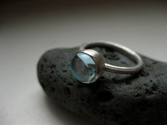 drop ring, silver + blue topaz