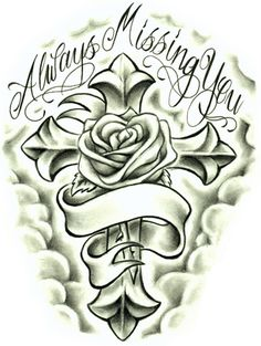 Always Missing You Rose and Cross. This tattoo can be a source of inspiration to you.
