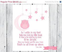 ON SALE Bedtime Prayer with Sleeping Owl  PDF by TheEducatedOwl, $7.20