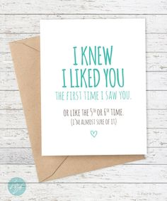 Boyfriend Card Funny I Like You By FlairandPaper On Etsy Cards For