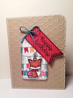 """Lawn Fawn - Into the Woods stamps and coordinating dies, Birthday Tags, So Much to Say, Tag-You're It Lawn Cuts dies, Dewey Decimal 6x6 paper, Vivid Triple Pack Lawn Trimmings _ simply adorable  """"Happy Birthday"""" Card by Yukari via Flickr - Photo Sharing!"""