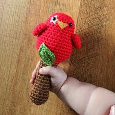 Just abut finished making this for great-granddaughter (3 months old)  = Crocheted birdy rattle.  Did not put white around eye.