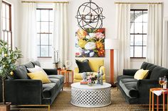 Colorful accents in a neutral room inspired by artwork
