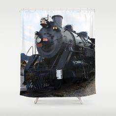 Vintage Railroad Steam Train Shower Curtain - #Society6 #Gravityx9 - Customize your bathroom decor with unique shower curtains designed by artists around the world. Made from 100% polyester our designer shower curtains are printed in the USA and feature a 12 button-hole top for simple hanging. The easy care material allows for machine wash and dry maintenance. Curtain rod, shower curtain liner and hooks not included. Dimensions are 71in. by 74in.