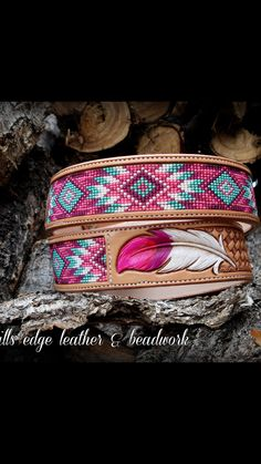 Beaded belt w/ leather engraving Indian Beadwork, Native Beadwork, Native American Beadwork, Native American Jewelry, Bead Loom Patterns, Bracelet Patterns, Beading Patterns, Beaded Earrings, Beaded Jewelry