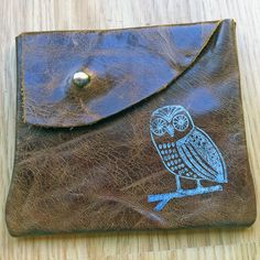 Brown leather pouch with owl print by handmadebychloed on Etsy, $10.00