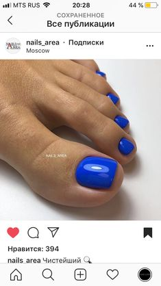 Blue pedi for your toes Blue Toe Nails, Pretty Toe Nails, Toe Nail Color, Summer Toe Nails, Feet Nails, Toe Nail Art, Nail Colors, Toe Nail Polish, Pedicure Summer