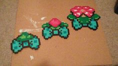 Bulbasaur evolution perler bows!!