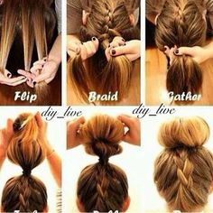 "This fabulous fun bun can be describe as having and ""upside-down"" French braid into a bun! Also this bun does not have to be a sock bun! It could b a messy bun as well!"