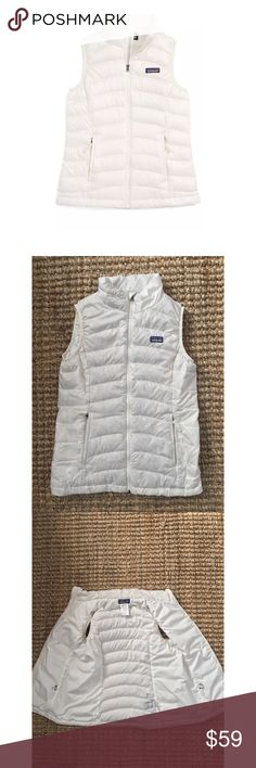 Patagonia Girls White Down Sweater Vest Zip Up Patagonia Girls White Down Sweater Vest Zip Up Down-feather  Sz Girls large (12) Preowned; please refer to pictures  Lofty and toasty compressible down adds serious warming power to a channel-quilted vest, It's windproof, tear-resistant and features a water-repellent finish, too. Full-length zip closure with wind flap and zipper Zip hand-warmer pockets with reflective pull Highly compressible 600-fill-power Traceable Down 1.4-oz 20-denier 100%…