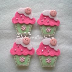 Handmade Cupcake Felt Applique - Double Layers (Design 1 - with cute button - mint green pink).