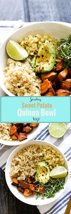 This smokey sweet potato quinoa bowl is vegan, gluten free, full of flavor, and ready in under an hour! Made with cheap, easy ingredients, it's the perfect meal prep bowl.
