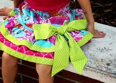 Happy Hills Claudia Layer Tiered Twirl Skirt Sewing Kit by AllegroFabrics Sizes 3-8, Girls, Sew, Easy, Spring, DIY,