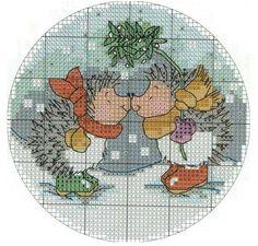 cross stitch: hedgehogs under mistletoe