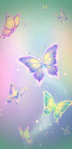 By Artist Unknown. Heart Wallpaper, Butterfly Wallpaper, Kawaii Wallpaper, Wallpaper Keren, Pastel Wallpaper, Cute Wallpaper Backgrounds, Butterfly Art, Cellphone Wallpaper, Galaxy Wallpaper