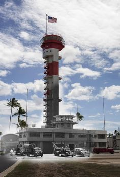 THEN & NOW: A view of historic Ford Island control tower. The tower was once used to guide airplanes at the airfield on the island and will now be used as an aviation library. The combined image contains photographs taken during the 1941 attack on Pearl Harbor and the same present day location as the event.