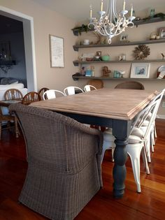 Farmhouse Dining Table Makeover 42 Ideas For 2019 Dinning Room Tables, Diy Dining Table, Shabby Chic Furniture, Shabby Chic Decor, Nice Furniture, Luxury Furniture, Dining Table Makeover, Diy Esstisch, Shabby Chic Kitchen