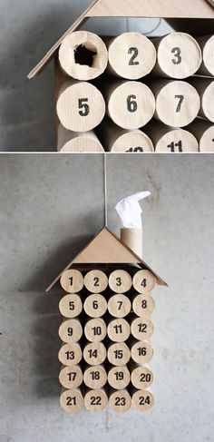 Toilet Paper Roll Advent Calendar - would paint green and red. Behind each hole put a piece of paper to pull out each day with activity - ex. Make popcorn string, go caroling etc