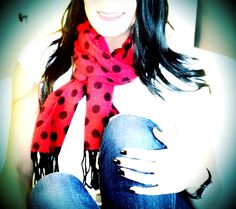 Red and Black Polkadot Scarf OOTD