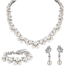 EVER FAITH Austrian Crystal CZ Simulated Pearl Victorian Style Necklace Earrings Bracelet Set Clear ** Check out this great product.