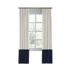 Ivory and Navy Color Block Drapery - One Panel ❤ liked on Polyvore featuring home, home decor, window treatments, curtains, color block curtains, midnight blue curtains, navy window treatments, cream curtains and off white curtains