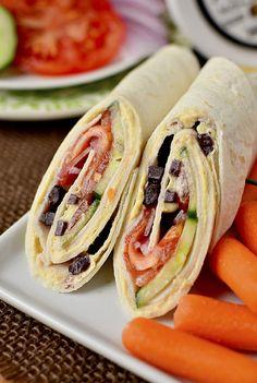 5 Minute Lunch Idea: Mediterranean Turkey Wraps | iowagirleats.com
