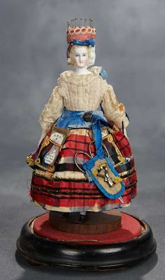 Rare German Bisque Lady with Sculpted Snood and Tassel as Sewing Companion.