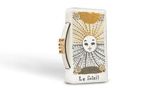 Tarot pouch in white lambskin embroidered with sun card - Dior