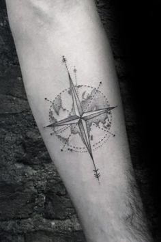 For men who want a modern twist on one of the most classic of tattoo designs, the geometric compass is a great choice. Historically, compass tattoos were popular with sailors.Many believed that the tattoo would protect them on rough seas and help them to arrive home safely.  #nextluxury #tattooideas #tattoodesigns Hot Tattoos, Trendy Tattoos, Tattoos For Guys, Sleeve Tattoos, Mens Tattoos, Turtle Tattoos, Star Tattoos, Geometric Tattoos Men, Geometric Sleeve Tattoo