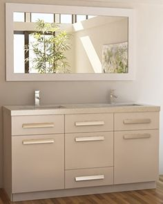 Contemporary Art Sites Design Element Moscony Double Sink Vanity Set with White https