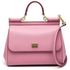 Dolce & Gabbana Medium Miss Sicily Leather Top-Handle Satchel (€1.565) ❤ liked on Polyvore featuring bags, handbags, apparel & accessories, leather handbags, leather satchel, pink satchel purse, genuine leather handbags and dolce gabbana handbags