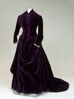 ~House of Worth, Purple Velvet Dress. Paris, 1880s~