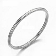Las Solid 9ct White Gold 2 5mm Round Golf Bangle 12 Grams