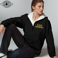 Custom Greek Clothing and Apparel. Sorority jackets with custom embroidery. Add this piece to your greek clothing collection today with Something Greek and save money. Alpha Xi Delta, Sigma Lambda Gamma, Alpha Chi Omega, Delta Gamma, Embroidered Clothes, Embroidered Jacket, Pullover Rain Jacket, Charles River, Custom Greek Apparel
